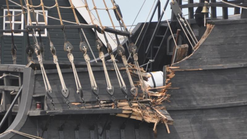 Tallship beschadigd