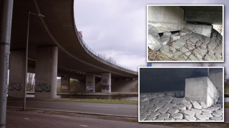 Een van de viaducten waar van alles mis mee is is, is de Gooise Knoop in de A10