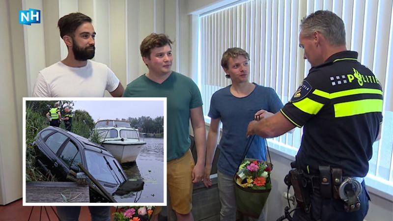 Helden krijgen bloemen Amstel
