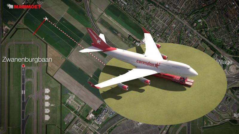 Boeing 747 op transport naar Badhoevedorp