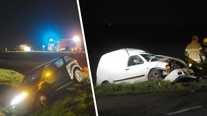 Veel schade bij fikse botsing tussen auto en bestelbusje in Slootdorp.