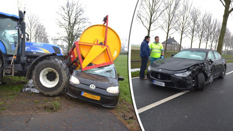 Auto geplet onder wals bij ongeluk met tractor in Hoofddorp.