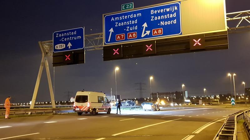 Zwaar ongeluk op A7 veroorzaakt door spookrijder onder invloed.