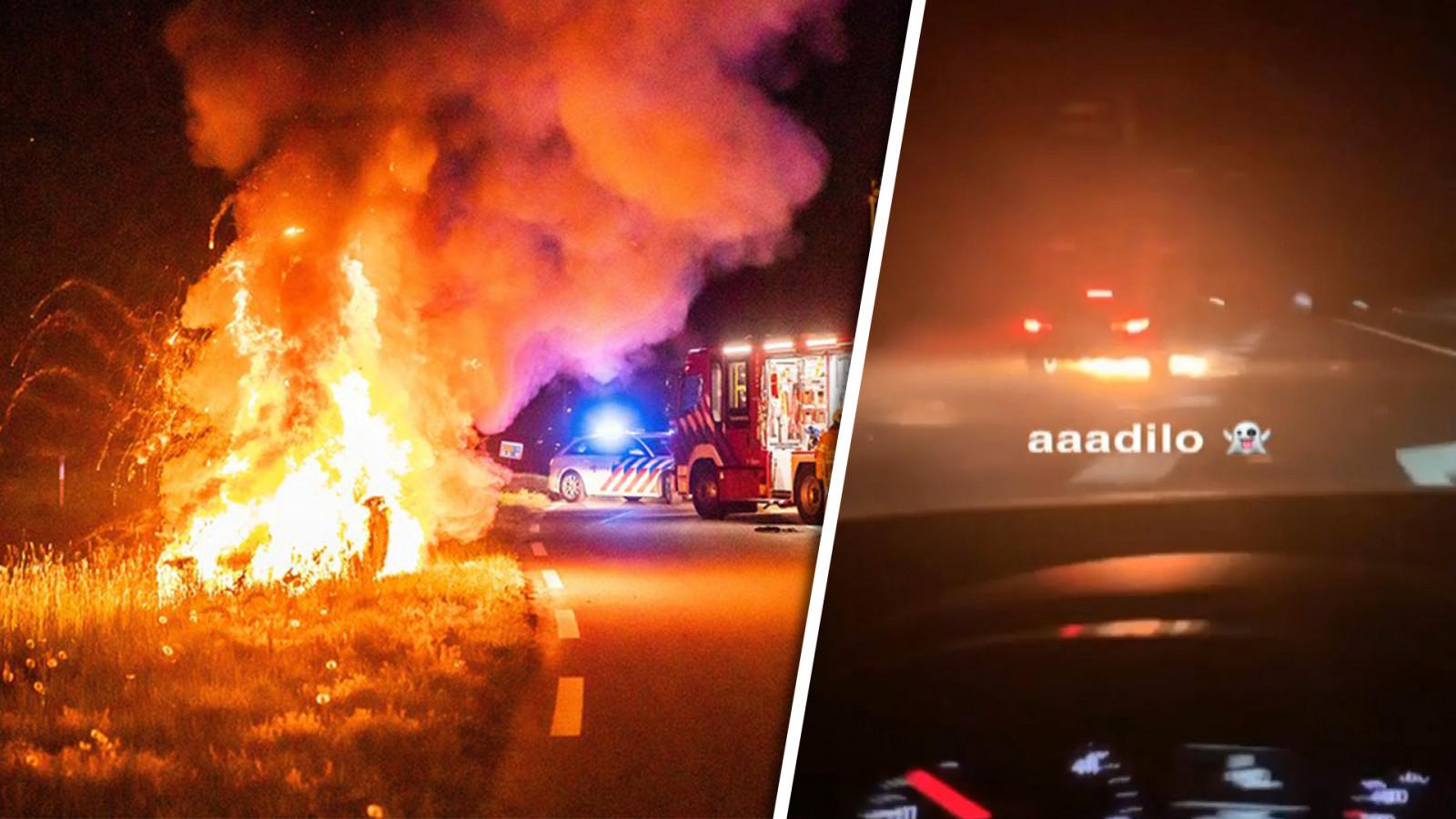 Brandende auto scheurt met 250 km/u over A1