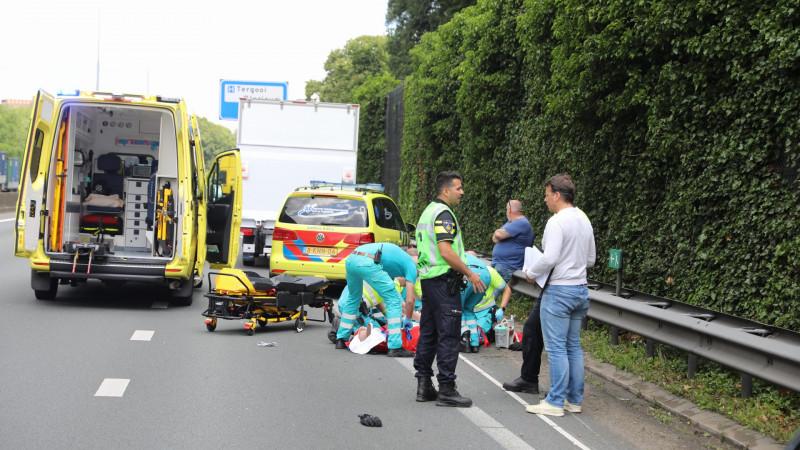 Motorrijder gewond bij ongeluk op A1.