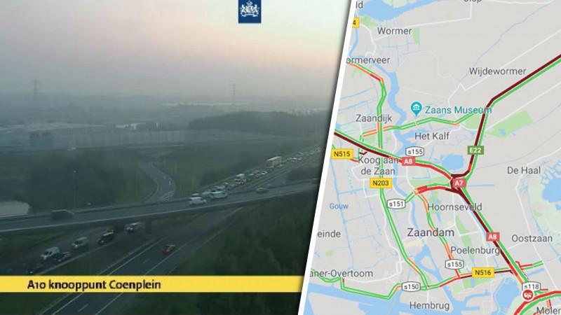 Chaos in de spits: A8 afgesloten vanwege ongeluk in Coentunnel.