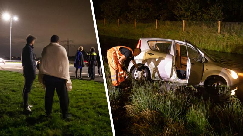 Auto belandt in de sloot na botsing in Maartensdijk.