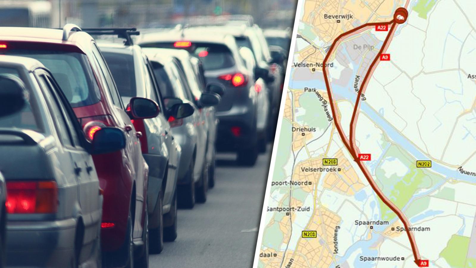 Botsing met acht voertuigen op A9: meer dan twee uur vertraging richting Amstelveen.