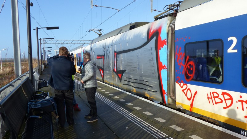 Weer trein bespoten Wormerveer