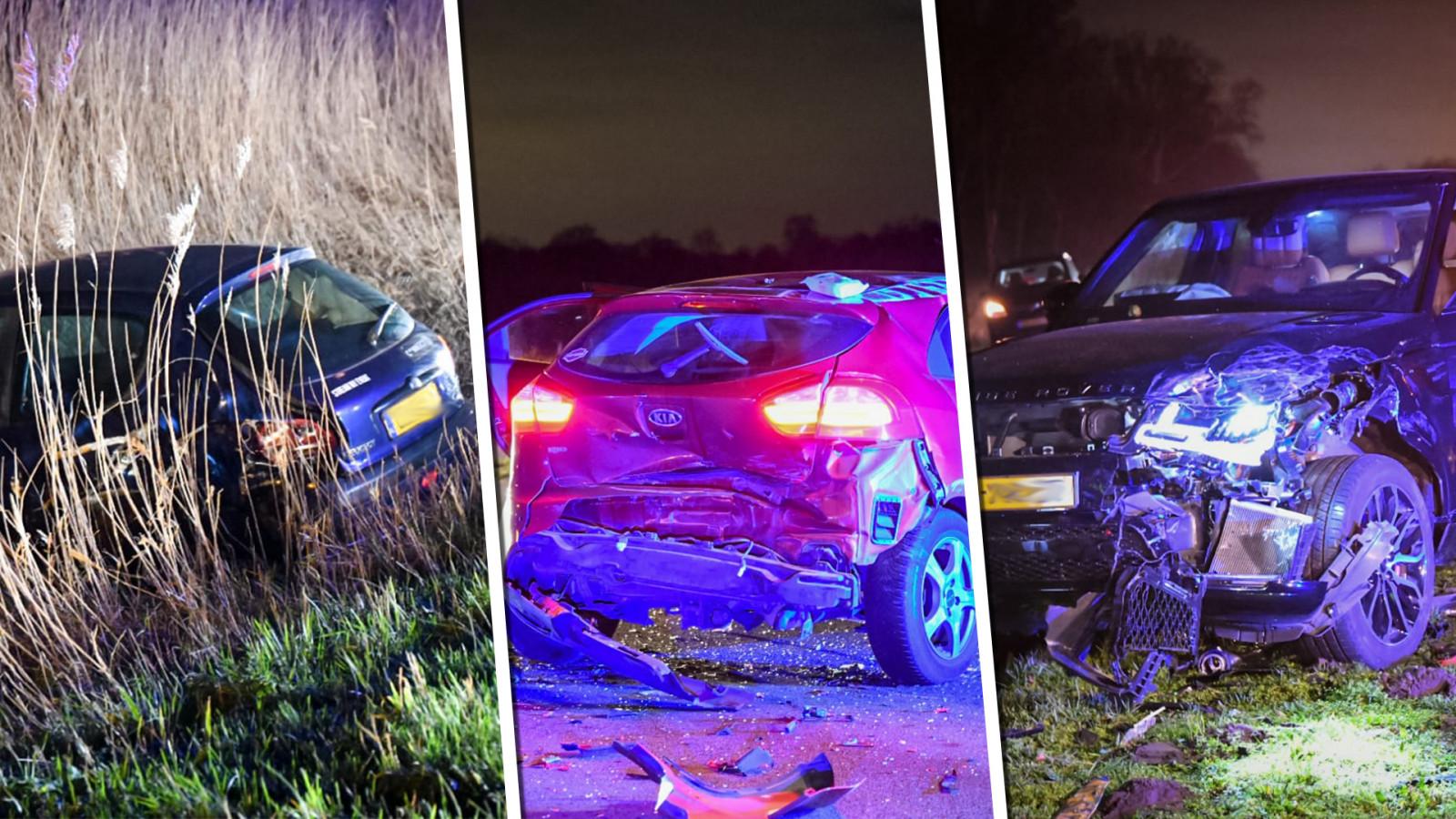 Ravage op N201 bij Kortenhoef na ongeluk met drie autos.