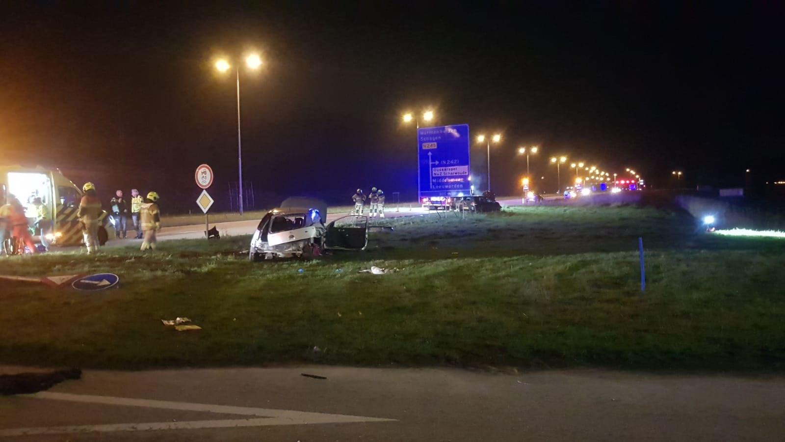 Meerdere gewonden bij ernstig auto-ongeluk in Noord-Scharwoude.