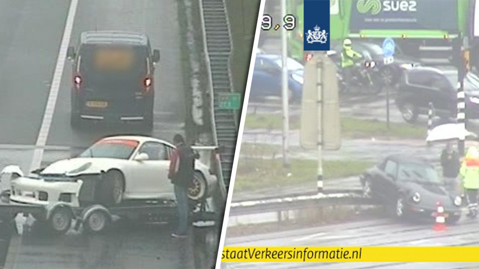 Twee dure sportwagens in de kreukels bij ongelukken op A10.