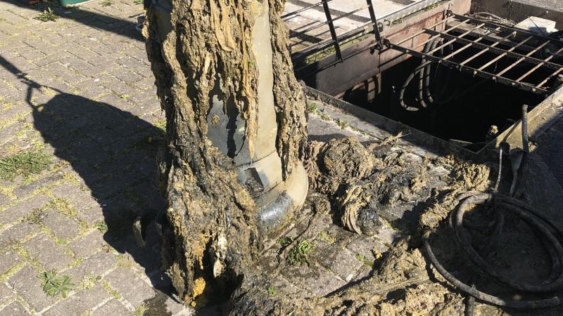 Vezeldoekjes in rioolgemaal Warmenhuizen